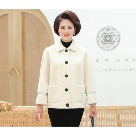 LZF中老年女装加厚保暖羊羔毛外套皮毛一体短款羊剪绒