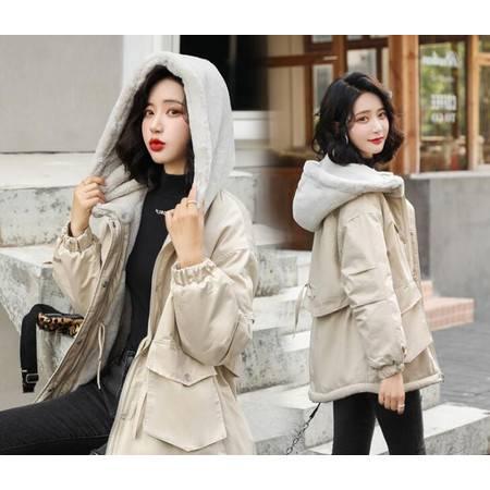 棉衣女冬装新款仿兔毛拼接加厚棉袄学生ins工装派克棉服外套