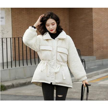 冬季女装新款仿羊羔绒拼接小个子羽绒服收腰百搭颗粒绒外套女
