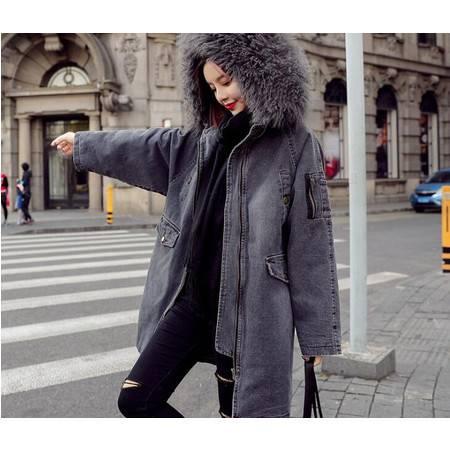 女装韩版冬季新款中长款外套大码棉服大毛领牛仔加厚棉衣女