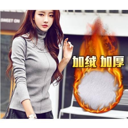 FX秋冬装新款纯色加绒高领修身显瘦长袖T恤打底衫