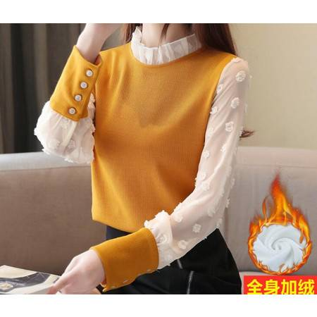 FX冬季新款加绒加厚很仙的立领拼接毛衣打底衫针织衫上衣女