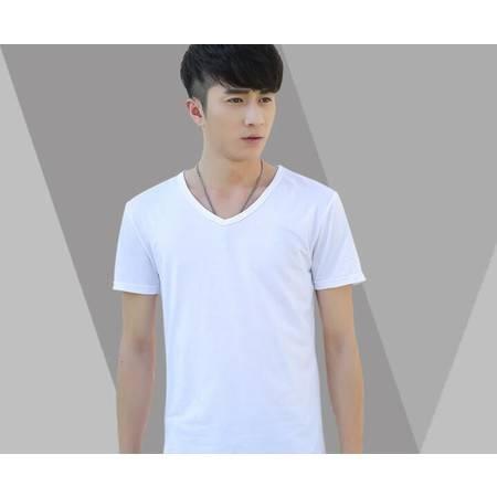 男装夏装纯白色V领男士短袖t恤 男半袖棉质纯色修身打底衫潮