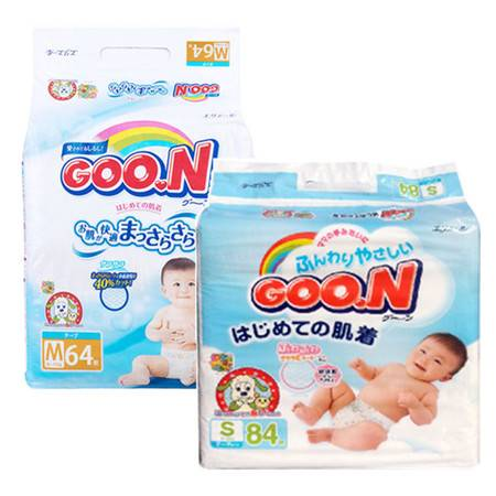 (7折促销)日本原装 大王(GOO.N)婴儿纸尿裤柔软透气S84/M64 柔软纤薄透气宝宝尿不湿