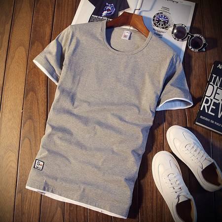 夏季男士短袖T恤韩版修身半袖上衣服潮男装薄圆领纯色体恤打底衫