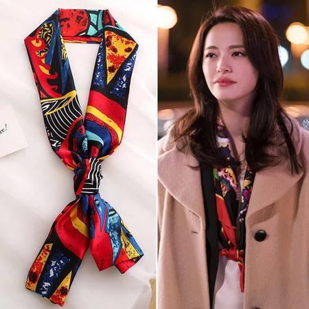 韩国百搭装饰领巾搭西装方巾围巾细窄长条小丝巾女春秋款洋气时尚