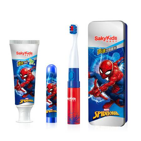 舒客宝贝 迪士尼系列儿童电动牙刷 声波超细软毛防水牙刷套装干电式 -蜘蛛侠款T01