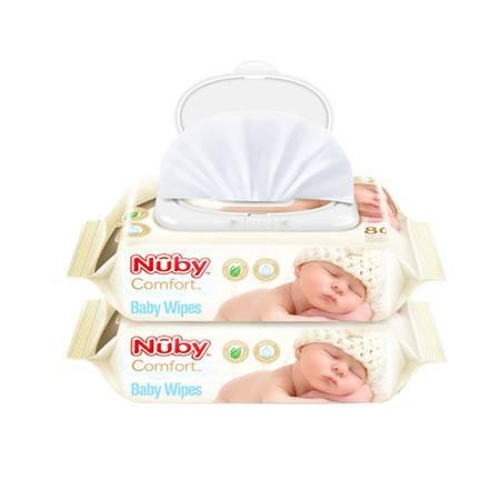 努比Nuby 婴儿柔肤湿巾80抽*2包 便利2包装