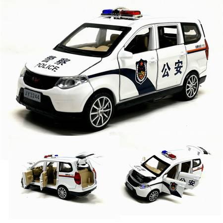 1:32声光回力小汽车五菱宏光警车6开门玩具车面包车模型合金车模