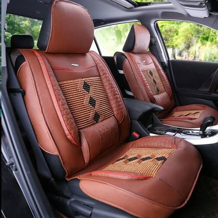 四季通用汽车坐垫套 夏季汽车坐垫 冰丝四季垫套 皮质皮革坐垫 简约单片全包 棕色