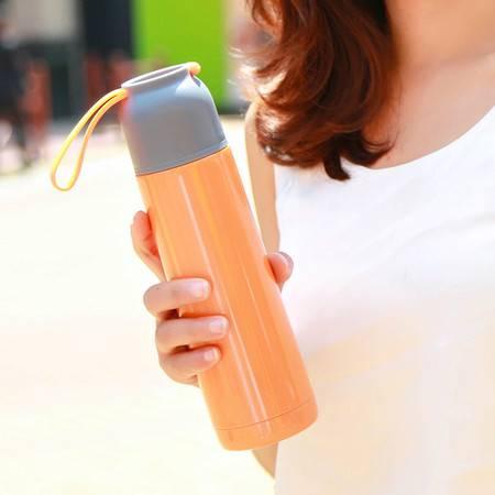 YKJF 创意硅胶提绳保温杯 男女学生小Q礼品杯 不锈钢真空保温杯