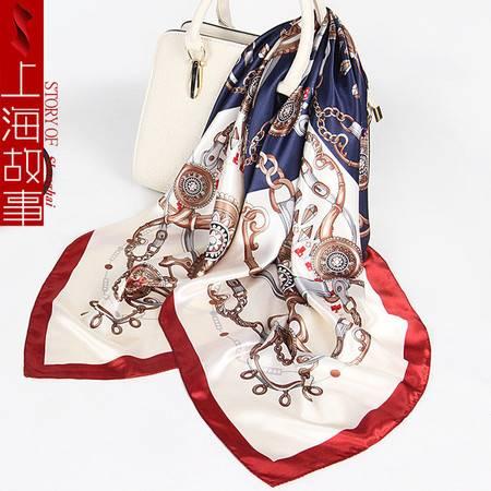 上海故事礼品欧美大方巾女2019春夏季仿真丝丝巾空姐领巾围巾SHGS