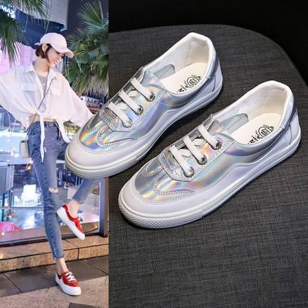 小白鞋女春季新款女鞋韩版百搭平底学生鞋子女透气运动休闲鞋女一脚蹬板鞋TTX