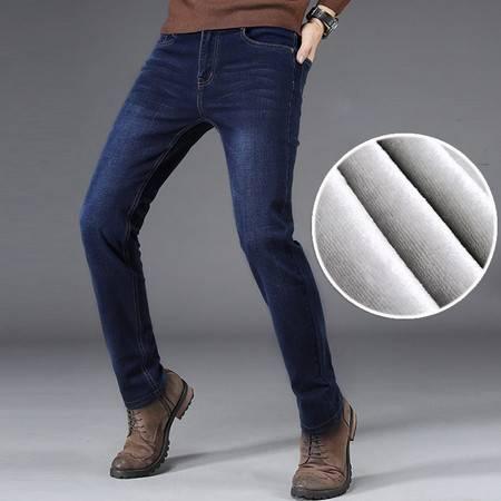 南极人(Nanjiren)男棉弹加绒牛仔裤加厚保暖修身长袖男款深色小直筒裤NJR3013R加绒(1)