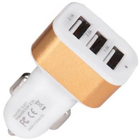 欧班尼 手机车载充电器2.1A多口USB点烟器电源一拖三通用型通用汽车充