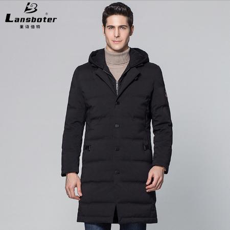 LANSBOTER/莱诗伯特   冬季新款连帽羽绒服男中长款加厚保暖青年男士羽绒服外套99981