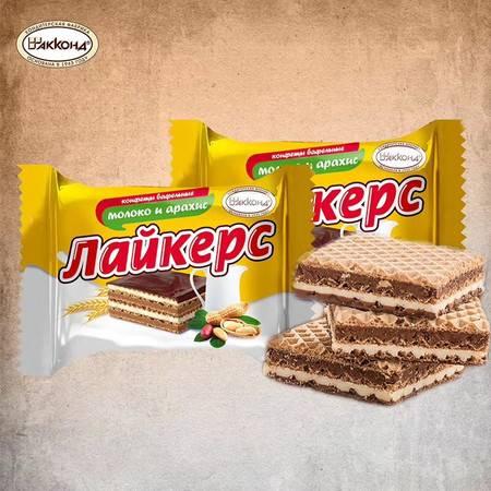 【买二送巧克力】--俄罗斯进口田园威化饼干 小农庄巧克力夹心威化饼干 花生威化500g 包邮