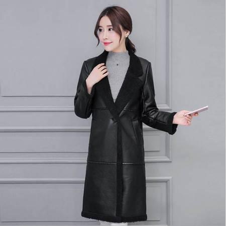 乡情浓 冬季新款外套女韩版中长款仿皮长袖大翻领修身6060