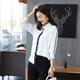 乡情浓  春季新款衬衫女韩版宽松大码单排扣开衫中长款白色衬衣2049