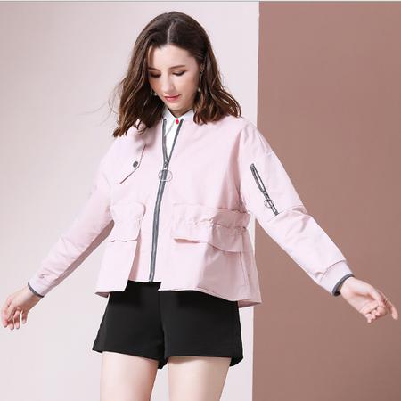 法米姿    新款秋季女装棒球衫棒球服上衣短款风衣女小个子宽松薄款外套79303
