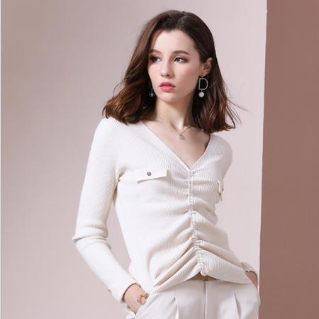 法米姿   秋装女新款毛衣 时尚V领薄款套头抽绳百搭修身针织打底衫长袖毛衣59322