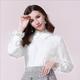 法米姿   新款设计感小众简约花边装饰纯色衬衫通勤百搭长袖上衣衬衣59377