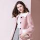 法米姿   新款冬季羊剪绒大衣女短款撞色复合皮毛一体羊羔毛颗粒绒外套69329