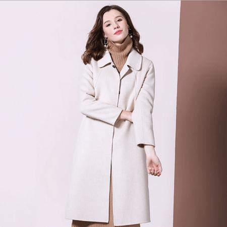 法米姿   秋冬新款双面羊绒大衣女宽松显瘦时尚百搭翻领中长款呢子外套69314