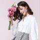 法米姿   新款秋气质V领蕾丝花边装饰珍珠扣小众设计感衬衫上衣衬衣衬衫59389