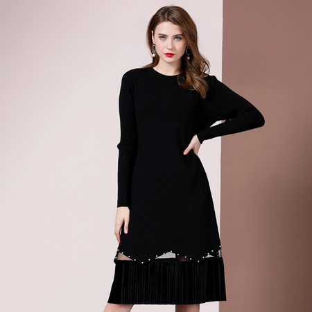 法米姿    秋装女新款气质时尚个性设计感拼接金丝绒钉珠网纱过膝连衣裙99370