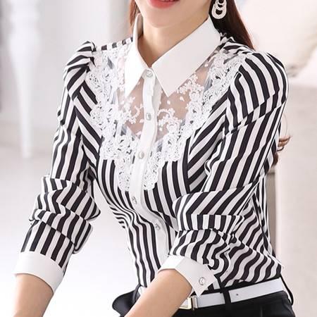 春秋季衬衫女长袖 大码修身韩版蕾丝职业女士衬衣条纹打底衫