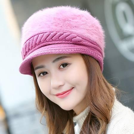 冬季新款帽子韩国可爱时尚女帽加厚保暖针织鸭舌帽贝雷帽兔毛帽