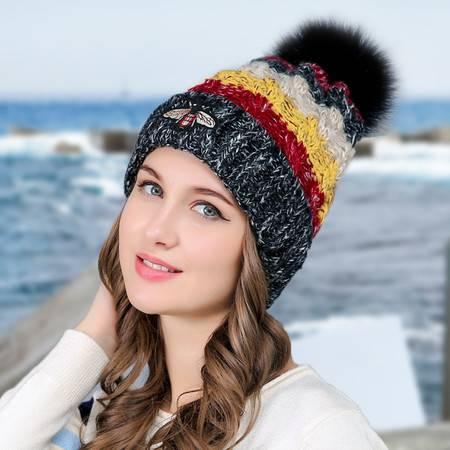 新款毛线帽韩国女士秋冬款帽小蜜蜂四色针织帽子加绒加厚帽