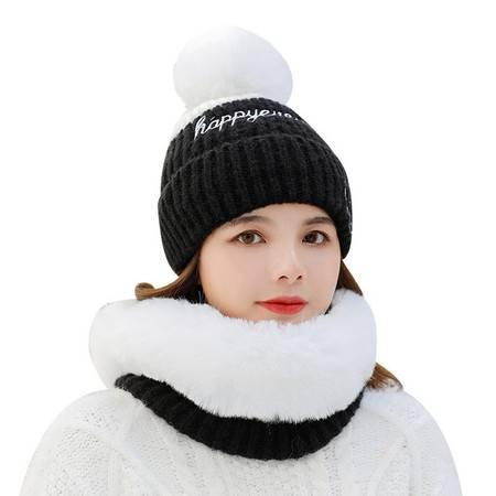 2019秋冬季女士拼色针织毛线帽围脖套装笑脸字母保暖套头护耳帽子