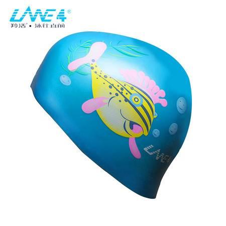 羚活LANE4品牌硅胶泳帽 男女通用 动物图案防水舒适泳帽