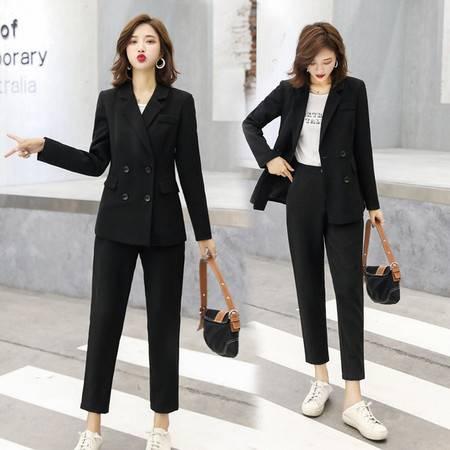 2019秋季新款女装气质双排扣修身小西装休闲裤两件套西服套装ZCY
