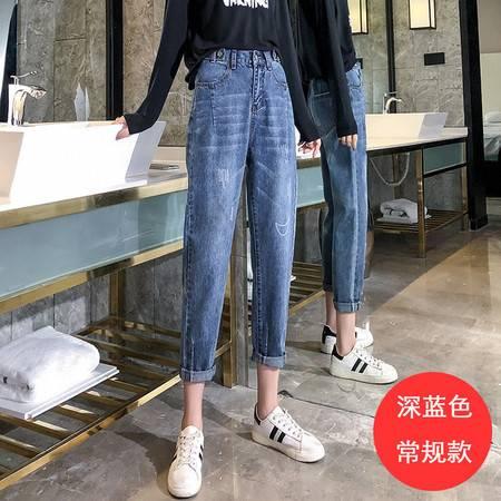 牛仔裤女2019秋装破洞高腰老爹裤泫雅风九分直筒裤YD