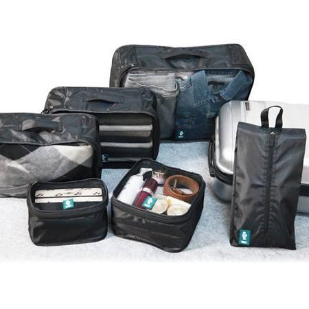 清野之木 旅行收纳袋6件套 加大号防水行李箱整理袋 商务出差旅行套装