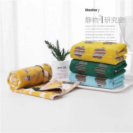 莱依儿 创意多色多花型全棉 混纺柔软厚实毛巾加大加厚款 2条装颜色随机
