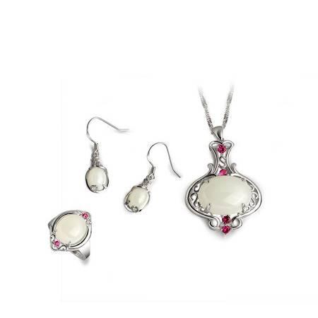 KSY珠宝 S925银镶红宝石 宝瓶白玉三件套