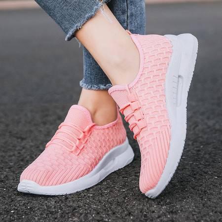 休闲女士旅游跑步小白鞋透气平软底防滑运动鞋
