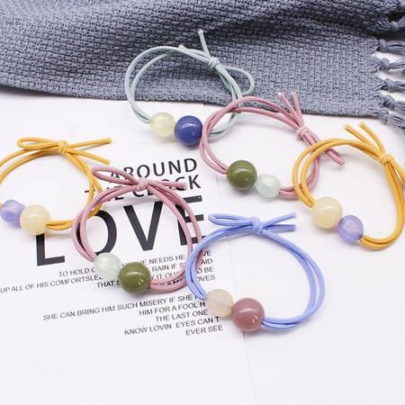 10根装 两颗彩珠高弹力头绳 双线南瓜珠打结发圈发绳
