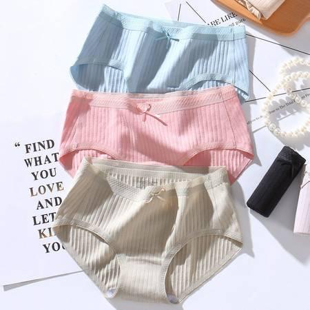 内裤 3条装 日系无痕纯棉女士内裤蕾丝腰头大码中腰少女三角内裤