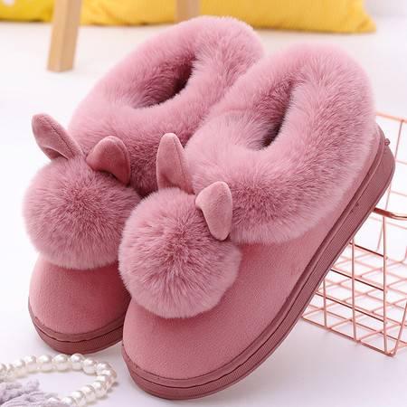 拖鞋 长耳朵单球网红棉鞋新款秋冬保暖加厚加绒棉鞋防滑家居老人鞋