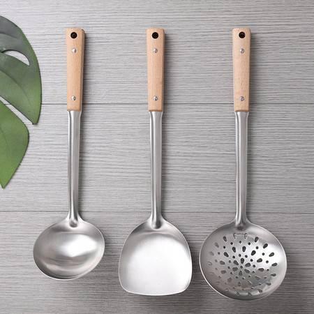 顶美 不锈钢锅铲三件套 木锅铲勺子漏勺家用套装烹饪木柄汤勺厨房用品