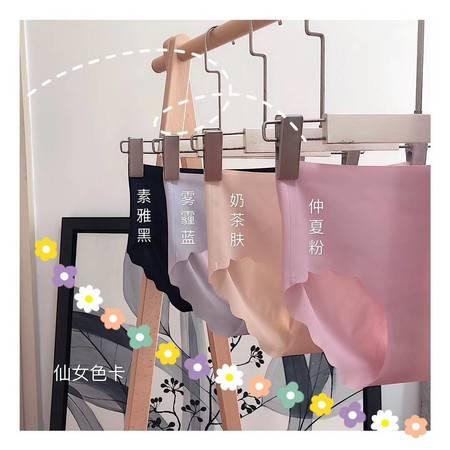 内裤 (4条装)盒装精品无痕冰丝内裤女士一片式大码中腰三角裤防夹臀内裤