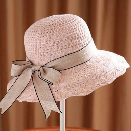 帽子 春夏秋季新款棉线针织帽子女士遮阳帽韩版飘带盆帽可折叠沙滩帽子
