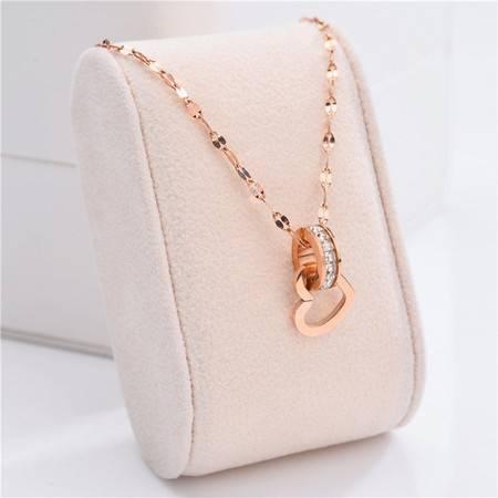 韩版玫瑰金钛钢项链女网红\锁骨链饰品