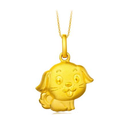 周大福 珠宝首饰生肖狗足金黄金吊坠计价F199503 约2.4g