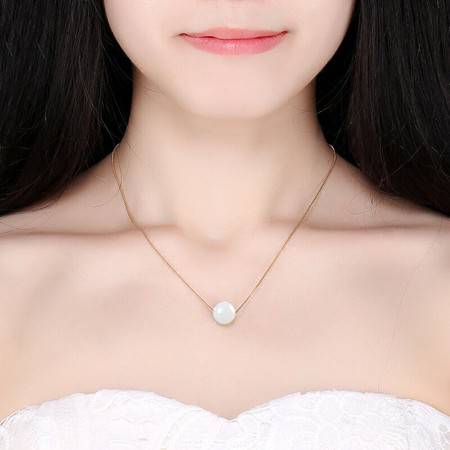 锦尚玉 天然白玉转运珠项链吊坠和田玉S925银镀金女款锁骨链